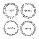 Vintage hand drawn floral wreaths set. Vector illustration. Vector vintage wreaths. Collection of trendy cute floral frames. Graphic design elements for wedding Stock Image