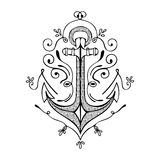 Vintage Hand Drawn Flourish Anchor Illustration royalty free illustration