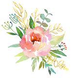 Vintage hand drawn flowers. Floral watercolor illustration. Greeting card for Mother`s Day, wedding, birthday, Easter