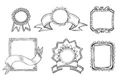 Vintage hand drawn frames collection Royalty Free Stock Photos