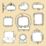 Vintage hand drawn frames collection Stock Photos