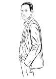 Vintage Hand Drawn Gentleman. Men s clothing. Retro Illustration style. Vector EPS Stock Image
