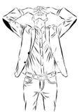 Vintage Hand Drawn Gentleman. Men s clothing. Retro Illustration style. Vector EPS Royalty Free Stock Photo