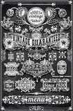 Vintage Hand Drawn Graphic Banners and Labels on Blackboard Stock Images
