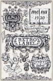 Vintage Hand Drawn Graphic Banners and Labels stock illustration