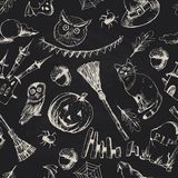 Vintage Hand drawn Halloween Seamless Background Royalty Free Stock Photos