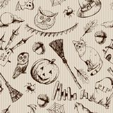Vintage Hand drawn Halloween Seamless Background Royalty Free Stock Images