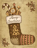 Vintage hand drawn сhristmas card sock with gifts Royalty Free Stock Photography