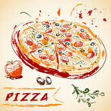 Vintage hand drawn Italian tasty sliced pizza. Stock Photo