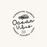 Vintage hand drawn label design. Ocean vibes sign with old retro style surf car. Hipster tee apparel template for t Stock Photography