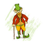 Vintage Hand Drawn Leprechaun. Vintage Hand Drawn Irish Character Leprechaun and St.Patrick in Classic Old Fashioned Clothes on the Textured Brush Stroke Stock Photography