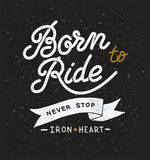Vintage hand drawn lettering composition, biker Stock Images