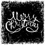 Vintage hand drawn lettering merry christmas on grunge background. Retro vector illustration. Royalty Free Stock Photography