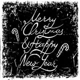 Vintage hand drawn lettering merry christmas and happy new year on grunge background. Retro vector illustration. Royalty Free Stock Photography