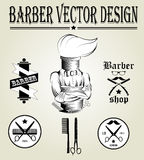 Vintage hand drawn logo of barber shop Stock Photos