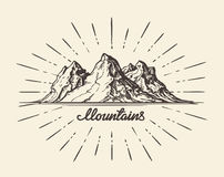 Vintage hand drawn Mountains.  Royalty Free Stock Photography