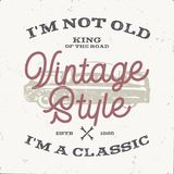 Vintage hand drawn muscle car t shirt design. Classic car poster with typography. I m not old, i m a classic quote Royalty Free Stock Photos