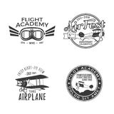 Vintage hand drawn old fly stamps. Travel or business airplane tour emblems. Airplane logo designs. Retro aerial badge. Pilot school logos. Plane tee design Royalty Free Stock Photos
