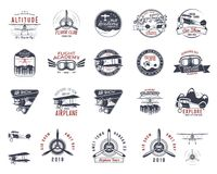 Vintage hand drawn old fly stamps. Travel or business airplane tour emblems. Biplane academy labels. Retro aerial badge. S isolated. Pilot school logo. Plane tee Stock Photos