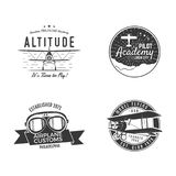 Vintage hand drawn old fly stamps. Travel or business airplane tour emblems. Airplane logo designs. Retro aerial badge. Pilot school logos. Plane tee design Stock Photos