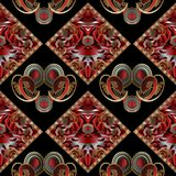 Vintage hand drawn paisley seamless pattern. Bright black red. Vintage hand drawn paisley seamless pattern. Bright black red gold floral background. 3d paisley Royalty Free Stock Photography