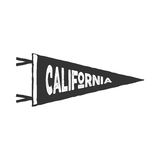 Vintage hand drawn pennant template. California sign. Retro textured, letterpress effect. Outdoor adventure, monochrome Royalty Free Stock Images
