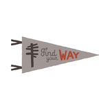Vintage hand drawn pennant template. Find your way sign. Retro textured, letterpress effect. Outdoor adventure style. Stock Vector isolated on white background Stock Photography