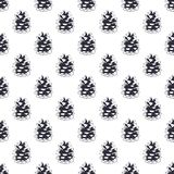 Vintage hand drawn pine cone pattern design. Pinecone seamless wallpaper. Monochrome retro design. illustration. Use for. Fabric printing, web projects, t Stock Image