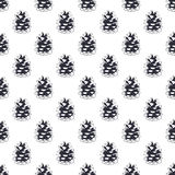 Vintage hand drawn pine cone pattern design.. Pinecone seamless wallpaper. Monochrome retro design. Vector illustration. Use for fabric printing, web projects Royalty Free Stock Images