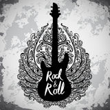 Vintage hand drawn poster with electric guitar, ornate wings and lettering rock and roll on grunge background. Stock Photography