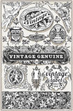 Vintage Hand Drawn Retro Labels Stock Images