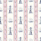 Vintage Hand-Drawn Rope Vertical Stripes with Lighthouse, Seagulls Scenery and Nautical Knots Vector Seamless Pattern. Vintage Hand-Drawn Rope Vertical Stripes vector illustration