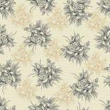 Vintage hand drawn rose seamless pattern Stock Images