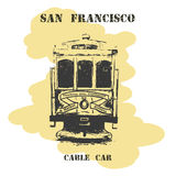 Vintage hand drawn San Francisco cable car. Royalty Free Stock Images