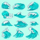 Vintage hand drawn sea blue waves with splashes. Ocean storm water vector set. Surf splash ocean, wave of sea swirl illustration royalty free illustration