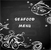 Vintage hand drawn seafood menu Royalty Free Stock Photo