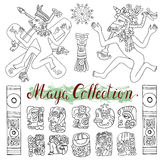 Vintage hand drawn set with tribal maya symbols, people and ethnic patterns Royalty Free Stock Image