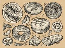 Vintage hand-drawn sketch set bakery. vector illustration Stock Images