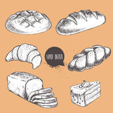 Vintage hand drawn sketch style bakery set. Bread, croissant,. Loaf, bun, sliced bread and part of cake stock illustration