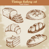 Vintage hand drawn sketch style bakery set. Royalty Free Stock Photos