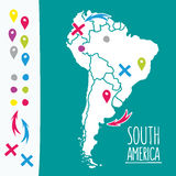 Vintage Hand drawn South America travel map with Stock Photography