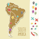 Vintage Hand drawn South America travel map with Royalty Free Stock Image