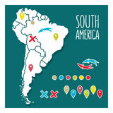 Vintage Hand drawn South America travel map with Royalty Free Stock Photography