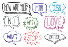 Vintage hand drawn speech bubbles with dialog words vector collection Royalty Free Stock Photos