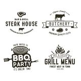 Vintage hand drawn steak house logo set, bbq party, barbecue grill badges, labels. Retro typography style. Butcher logo Royalty Free Stock Photography