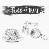 Engraving style. Ink line illustration for Halloween. Vintage hand drawn style. Vector illustration for party. Set of isolated drawings of scary treats. Hand Royalty Free Stock Images