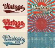 Vintage – set of stylized text and aged backgrounds. Stock Photography