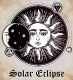 Vintage hand drawn sun eclipse with planets . Stock Photography