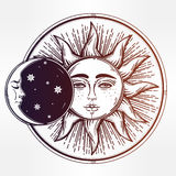 Vintage hand drawn sun eclipse . Royalty Free Stock Images