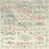 Vintage Hand Drawn Swirls Collection on Crumpled Paper. Set of Hand Drawn Colorful Doodle Design Elements on Crumpled Paper Texture. Decorative Swirls, Scrolls Royalty Free Stock Photo